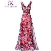 Grace karin długi prom dress wysokiej jakości najpiękniejsza strona formalna suknia kwiatowy wzór bez rękawów specjalne okazje dress