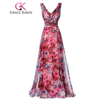 High Quality The Most Beautiful Long Prom Dresses Floral Print Pattern Sleeveless Party Gown Formal Dress