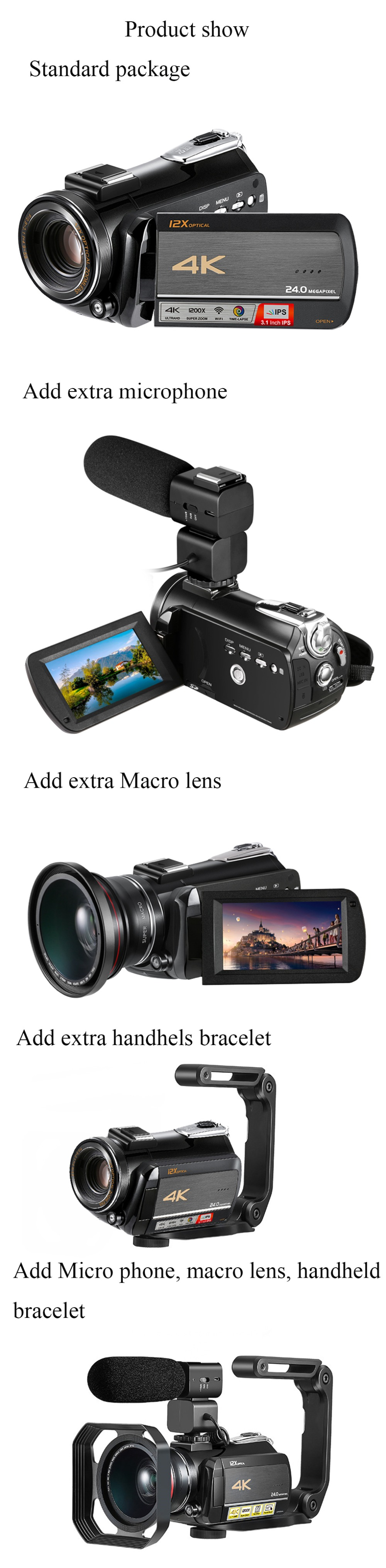 4k WIFI Digital Video Camcorder with 3.0'' Touch Display/12 x Optical Zoom Professional Home Use Digital Camcorder 11