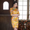 New Autumn Cheongsam Chinese Traditional Dress Silk Satin Half Sleeve Female Stand Neck Qipao Fresh Print Chinese Dresses