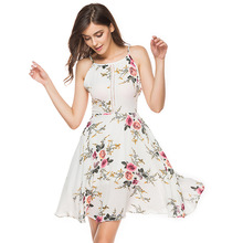 ARiby 2019 Summer Women Dress Chiffon Casual A-Line Sleeveless Spaghetti Strap Hollow Out Floral Backless Knee-Length Dress sweet spaghetti strap sleeveless floral print hollow out swimwear for women