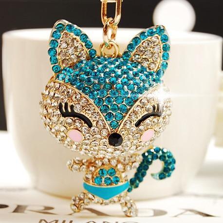 Free Shipping!Luxurious Full Rhinestones Fox keychains Key Chains Key Hanger Chains Keyrings Key Ring for Women Car Bag Charm