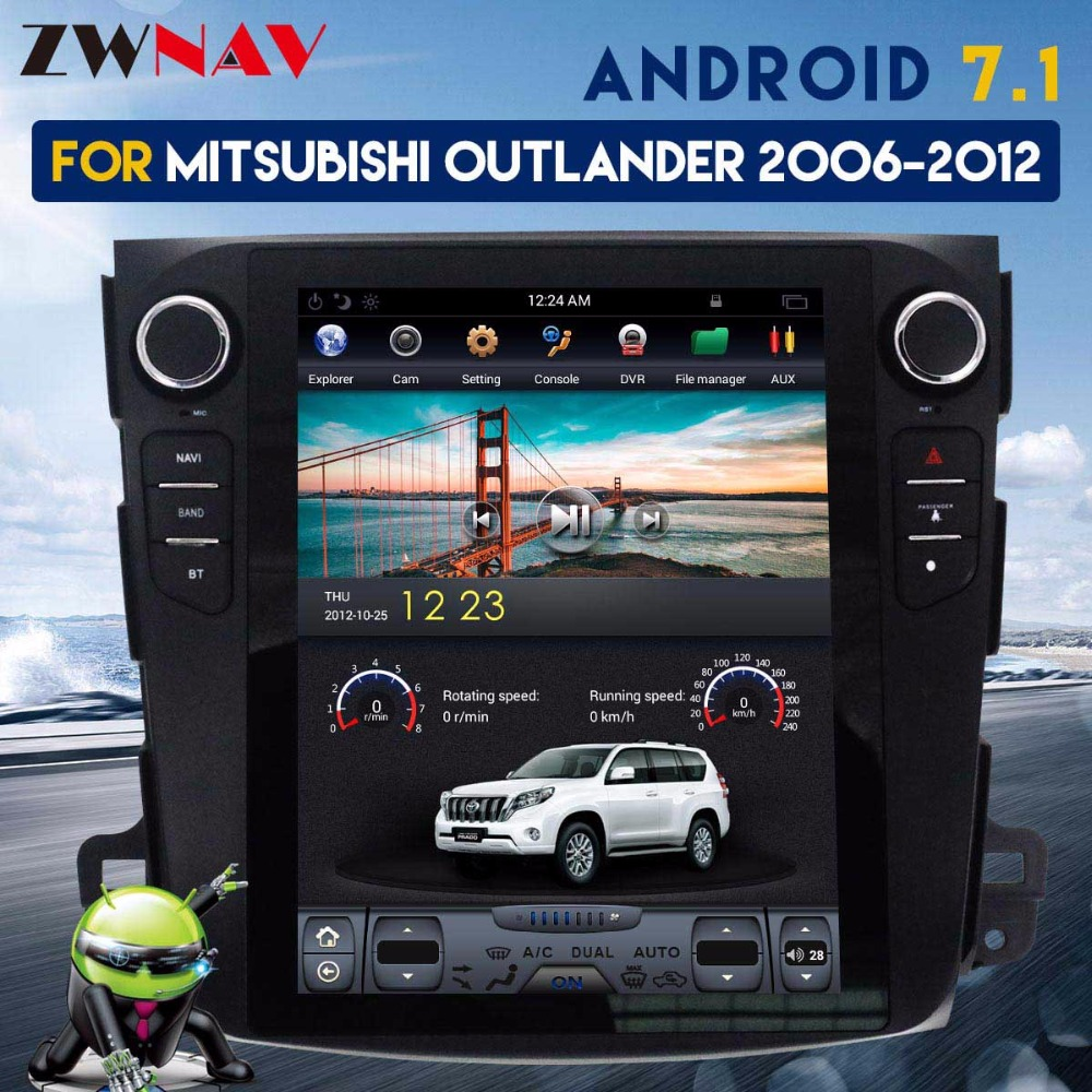 ZWNVA Tesla IPS Screen Android 7.1 Car GPS Navigation Radio For Mitsubishi Outlander Citroen C-Crosser Peugeot 4007 No CD Player