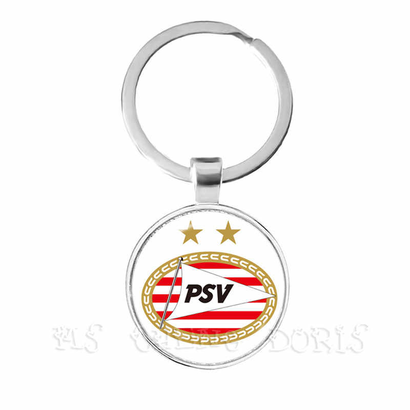 PSV Eindhoven Football Club 25mm Glass Cabochon KeyChain Eredivisie Football Logo Soccer Club Keyring For Football Fans Gift