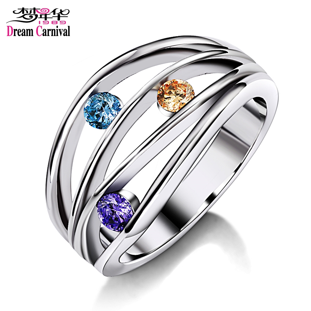 DreamCarnival1989 Zirconia Rings for Women Blue Purple Champagne Color Wedding Bijoux Gi ...