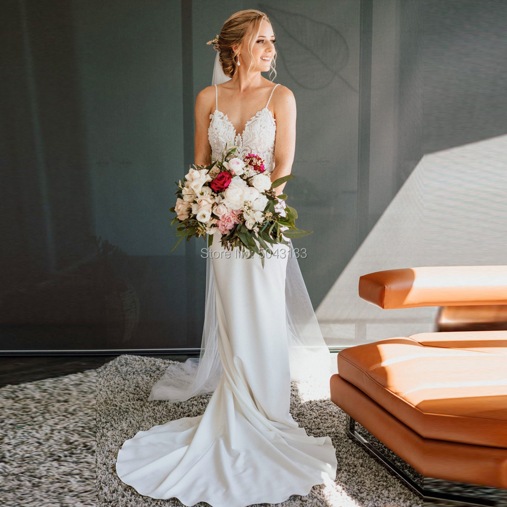 Sexy Spaghetti Straps Mermaid Satin Wedding Dresses Lace Applique 2019 Boho Backless Court Train Wedding Bridal Gowns Sleeveless