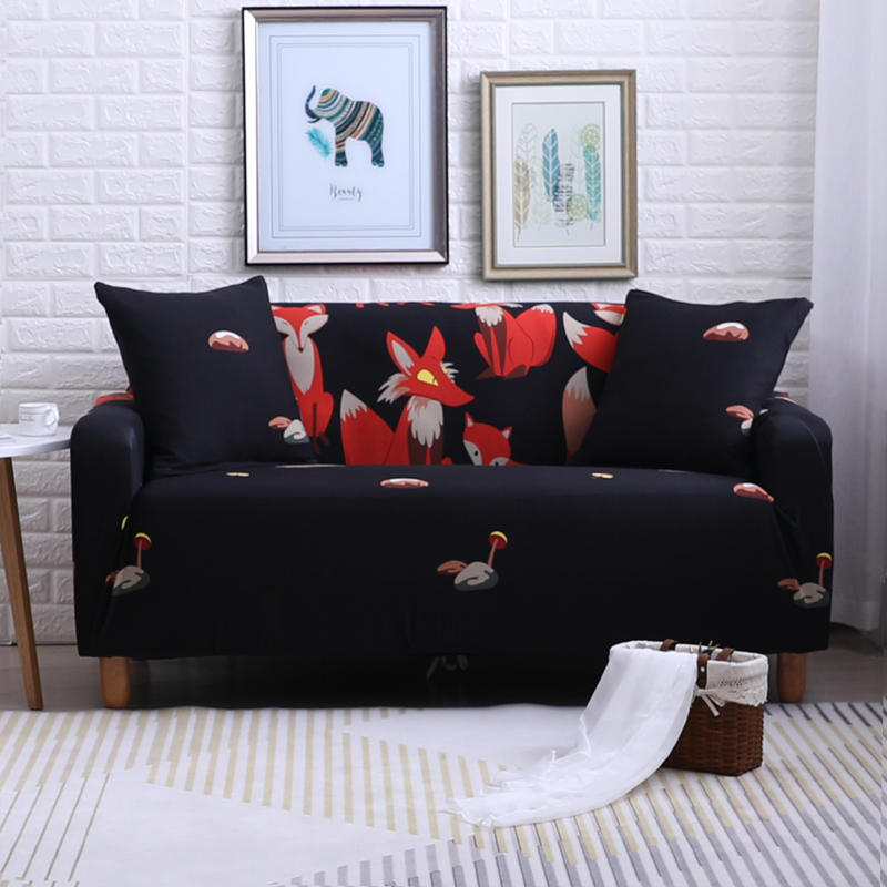 Details about Black Fox Stretch Elastic Sofa Cover for Living Room  Protector Couch Covers
