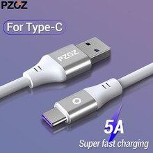 PZOZ 5A USB-Tipo C Cabo Para Huawei P20 P10 P9 Companheiro 20 Pro X 10 lite Honra 8X carregador Rápido Carregamento USB Do Telefone móvel Cabo de Dados C 5A USB-Tipo C Cabo Para Huawei carregador Rápido Carregamento