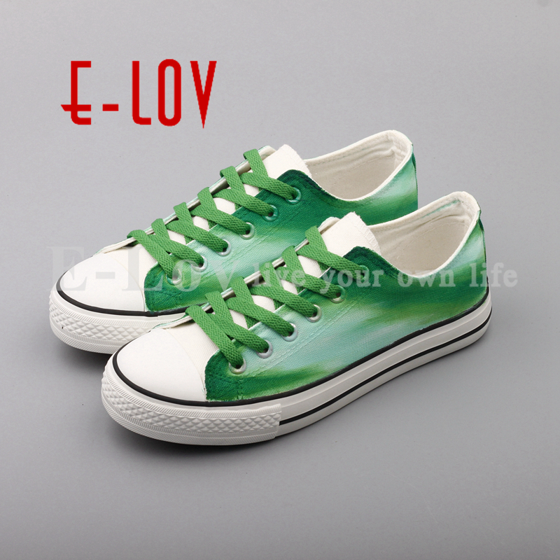 E-LOV 2017 Trendy Dream Graffiti Canvas Shoes Hand Painted Green Low Top Casual Flats Plus Size sapatilhas feminina e lov women casual walking shoes graffiti aries horoscope canvas shoe low top flat oxford shoes for couples lovers