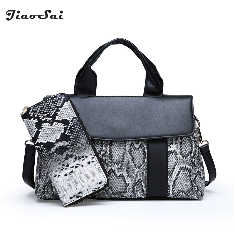 New Snake Serpentine Leather Bag For Women Patchwork Shoulder Crossbody Bag Ladies Purses And Handbags Set Messenger Clutch Bags