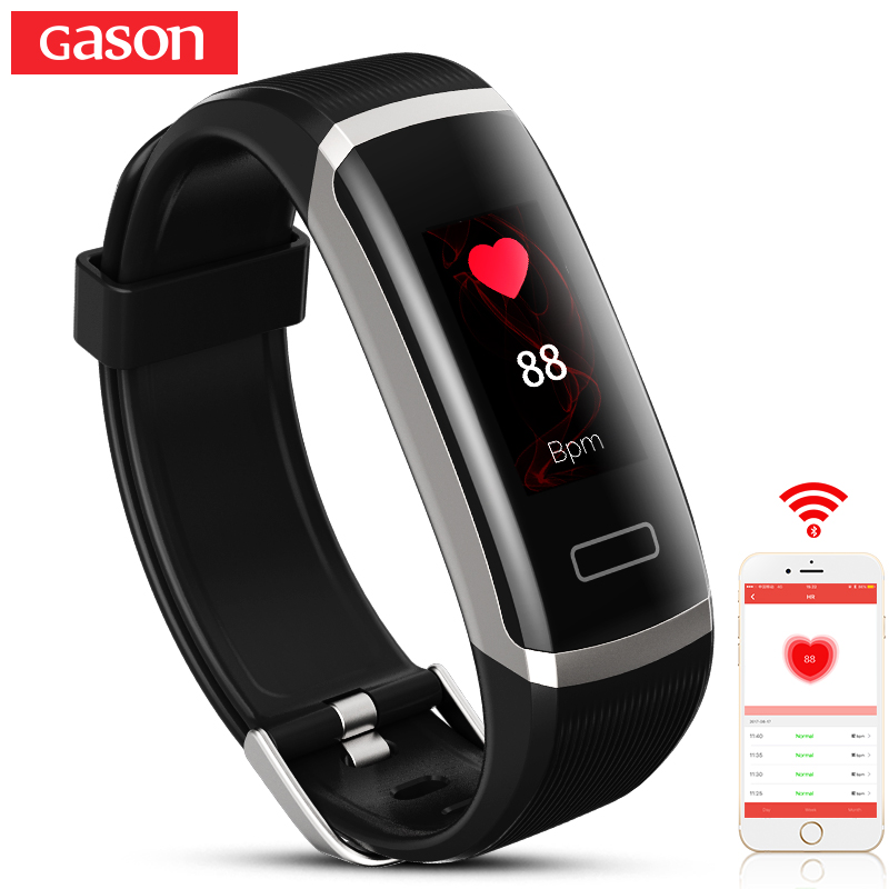 GASON B1 Smart Wristband Cicret band Watch Heart rate monitor Smartband Pulsometer Sport health Fitness Bracelet tracker for IOS