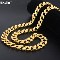 Gold Finish 15mm 30 Iced Out Hip Hop Cz Chain Necklace Mens Miami Cuban Bling Bling High Quality Chain