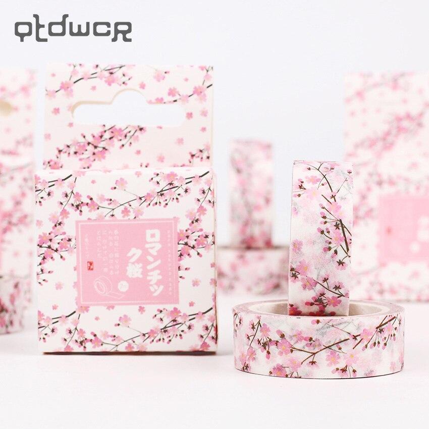 1PC Romantic Cherry Decorative Paper Tapes DIY Scrapbooking Masking Tape School Office Supply Escolar Papelaria