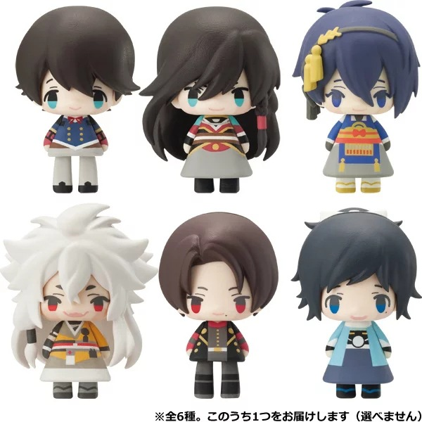 (6 pieces/lot) Q Edition Lovely Touken Ranbu Online Peas Eye Cute Tomy Doll can change the face PVC Action & Toy Figures GH175