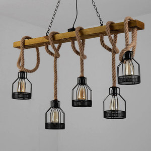 Image 4 - American retro multi heads pendant lamp industrial wind headlight clothing store living room bar cafe creative twine chandelier