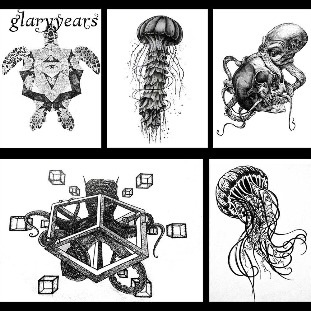 5 Pieces Ocean Species Pattern Design Temporary Tattoo Body Art Jellyfish Octopus Decal Waterproof Arm Tattoo Sticker Gift KM#12