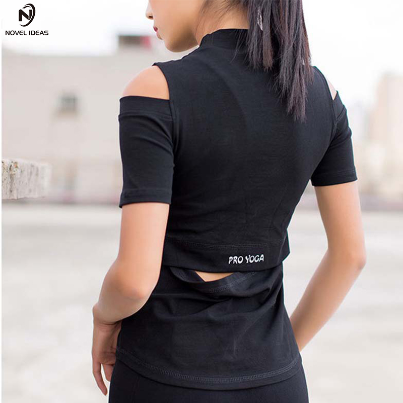 Novel ideas 2018 New Yoga Shirt Short Sleeve Yoga Top Sports Running Fitness T-shirt Sports wear for women Gym clothes