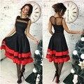 Женщины Платья 2016 Мода Без Рукавов О-Образным Вырезом Sexy-Line Dress Женщины Сетки Спинки Элегантный Симпатичные Новый год Платья Vestidos