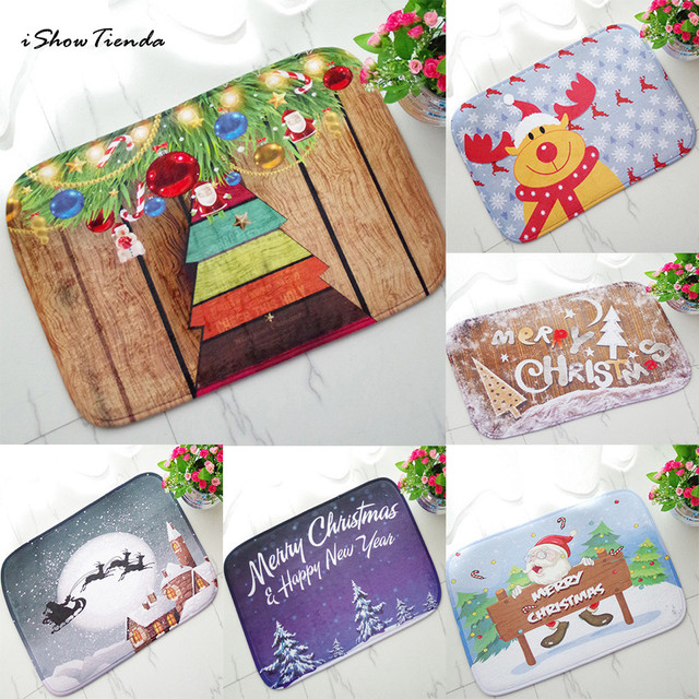 Hot 40*60cm Christmas HD Printed Non-Slip kitchen Bath Mat Absorbent Waterproof Home Decor Alfombra de bano New