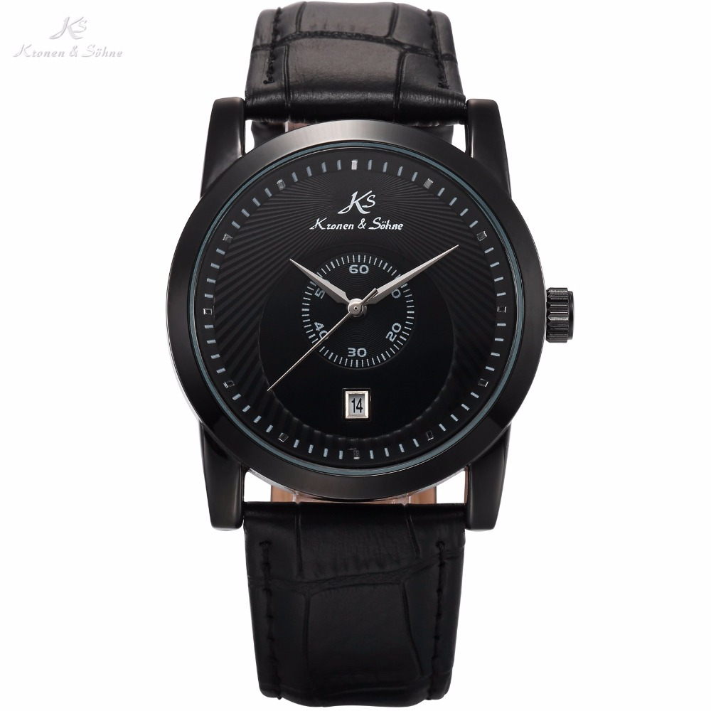 KS Brand Full Black Date Display Sub Dial Genuine Leather Band Strap Mechanical Watch Automatic Mens