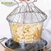 RLJLIVES 1 шт. складной дуршлаг из нержавеющей стали для жарки Волшебная корзина складной сетчатый фильтр