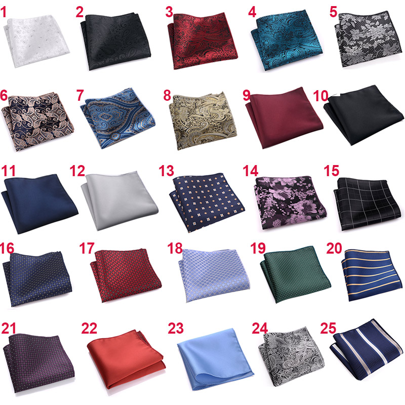 Luxury Men's Polyester Silk Handkerchief Pocket Square Vintage Polka Dot Hankies Wedding Party Chest Towel 22*22CM