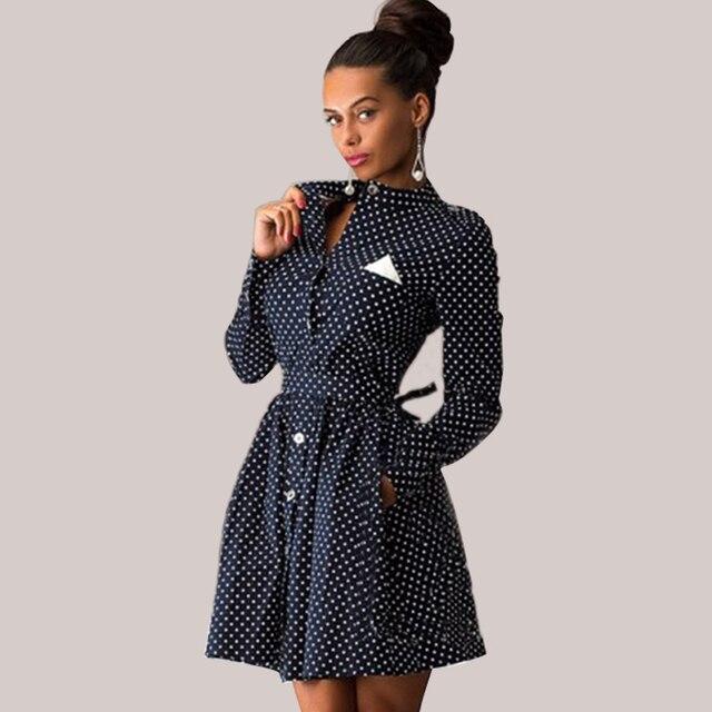 2016 Женщины Весна Длинным Рукавом Стенд Воротник Pin Up Горошек Mini Dress Была Тонкая Линия Туника Рубашки Платья Синий Черный Vestidos