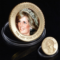 WR 24k Gold Coin The People's Princess Diana Commemorative Metal Coin Holiday Gifts Souvenir Coins Worth Collection
