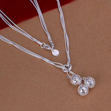 Women or girls fashion jewerly 925 sterling silver three hollow ball charms  Pendant with snake chains  Necklace Wholesale