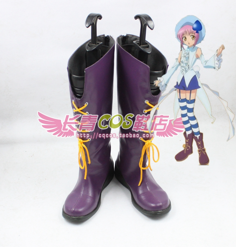 Shugo Chara Hinamon Amu Purple Halloween Long Cosplay Shoes Boots C006