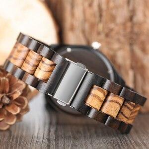 Image 3 - עץ שעונים 2018 גברים פס דפוס מנומר במבוק רצועת קוורץ שעון טבע עץ Creative ספורט אופנה שעון עבור זכר מתנות