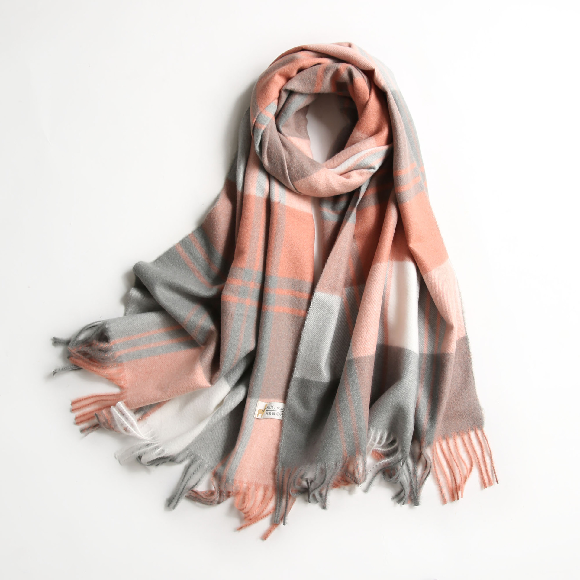 Plaid Fashion Winter Cashmere Scarf For Women Thick Pashmina Female Stole Plaid Tassels Shawl Scarves Sjaal Foulard Femme 2018