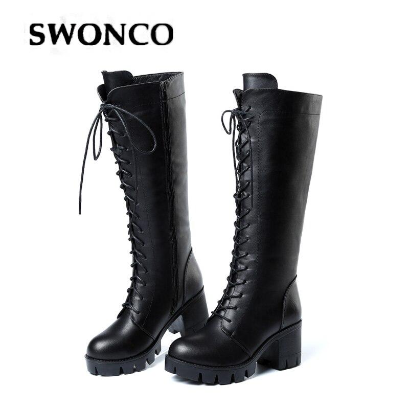SWONCO stivali alti al ginocchio donne scarpe casual blocco tacco stivali di pelle delle donne di inverno 2019 dalla fasciatura femminile di inverno caldo scarpe alte scarpe di avvio|Stivali al polpaccio|   - AliExpress