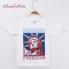 2019 New Product Kids Clothes Childre T-shirt Statue Of Liberty Freedom Print 100% Cotton Boy T Shirts Baby Girl Top Tee Unisex