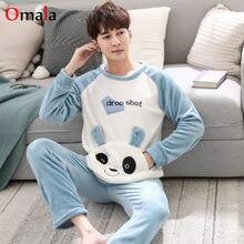 b54b6688ac Winter Men Pajama Set Warm Flannel mens sexy Sleepwear Long Pant Pyjamas  Sets Long-sleeve