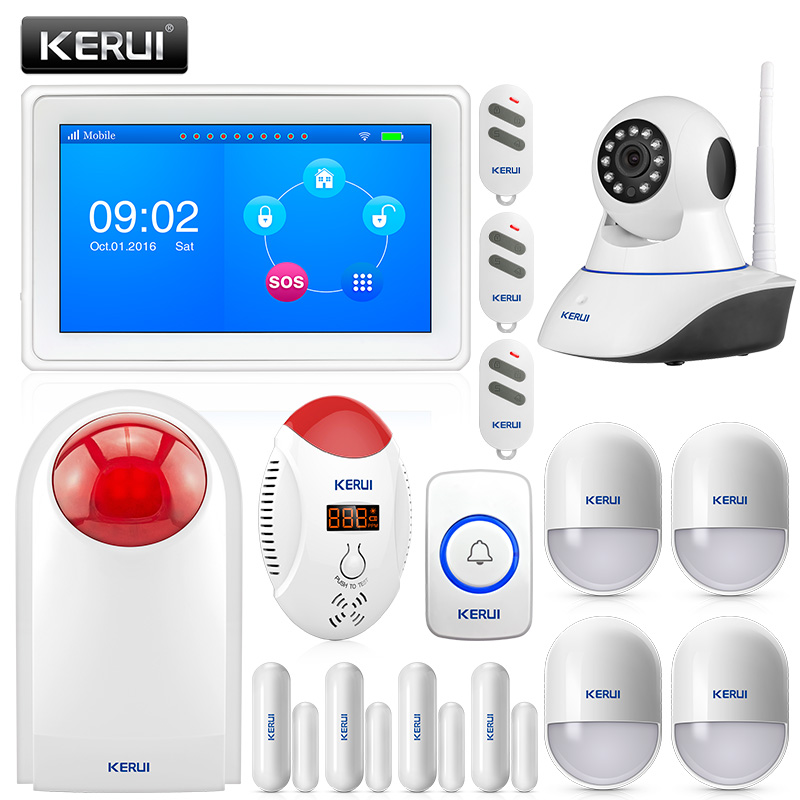 KERUI K7 7 Inch TFT Color Display WIFI GSM Security Alarm System with CO Detector Motion Sensor IP Camera SOS button and SirenKERUI K7 7 Inch TFT Color Display WIFI GSM Security Alarm System with CO Detector Motion Sensor IP Camera SOS button and Siren