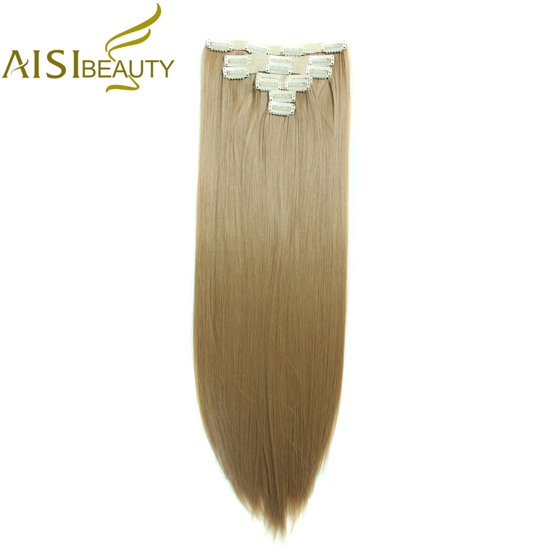 AISI BEAUTY 22 160 g 7 Pieces Set Silky Straight High Temperature Fiber Full Head Synthetic