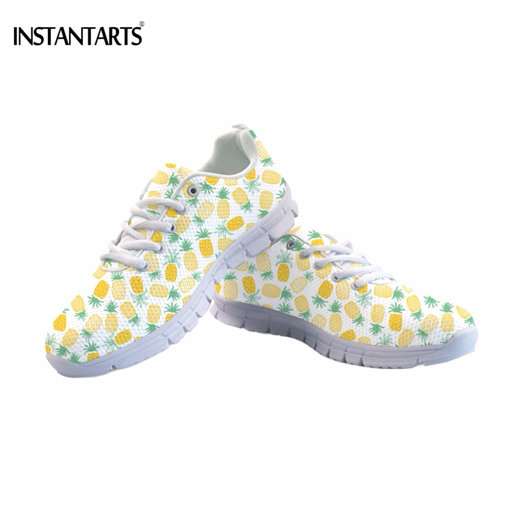 INSTANTARTS Autumn Spring Girls Flats Shoes Funny Fruit Pineapple Print Women Mesh Flat Shoes Fashion Student Breathable Sneaker instantarts cute glasses cat kitty print women flats shoes fashion comfortable mesh shoes casual spring sneakers for teens girls