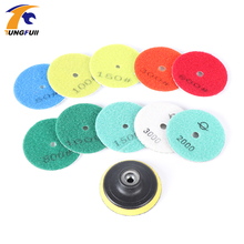 High Quality 3 in. 10 pcs Diamond Flexible Wet Polishing Disc 1 pcs M10 Holder for Marble Stone Glass Granite Tile Concrete Grin
