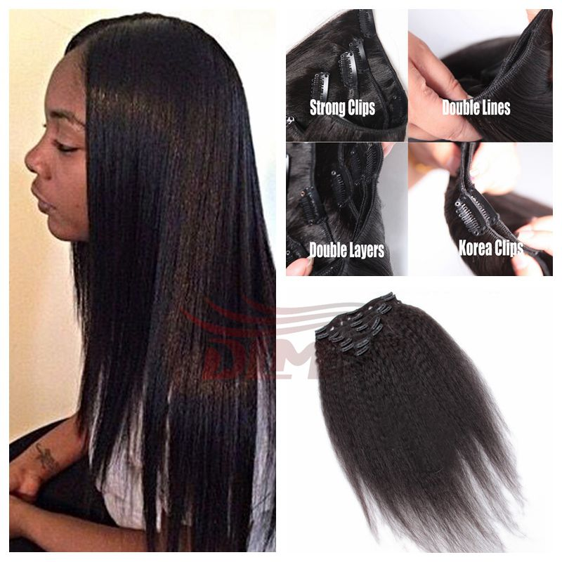 Clip In Human Hair Extension 6A Malaysian Virgin Hair Yaki Straight #1b Clip In Straight Human Hair African American Extensions