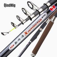 QindMig New Superhard Telescopic Fishing Rod High Quality Carbon Fiber Sea Fishing Rods 2.1M 2.4M 2.7M 3.0M 3.6M Fishing Pole