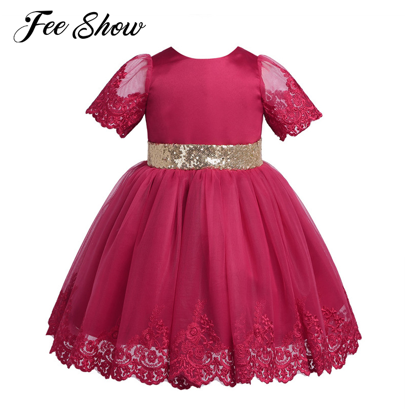 e1f37f855 Detail Feedback Questions about Baby Girls Embroidered Short Sleeves  Sequined Bowknot Flower Girl Dress Princess Pageant Wedding Bridesmaid  Birthday Party ...