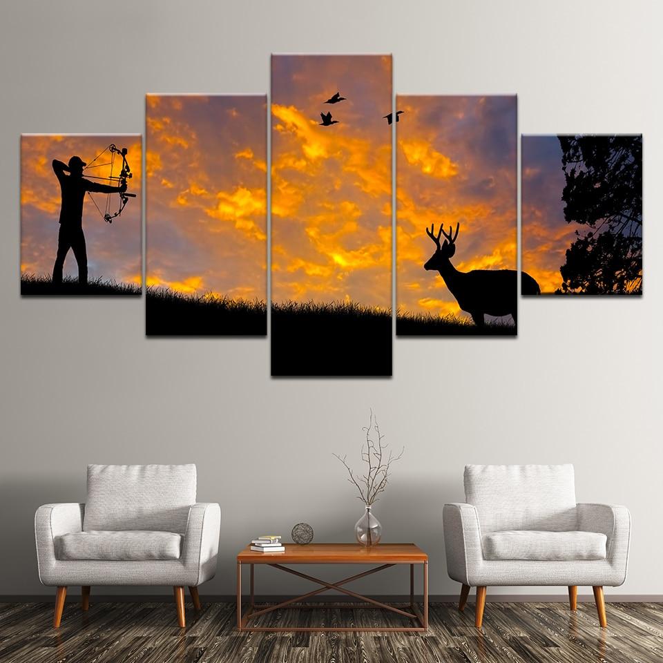 Man Athlete Standing Shooting 5 panel Art Wall Home Livingroom Wall Murals Decor Sport Series Canvas Print Painting Poster