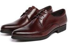 Мода коричневый загар/черный бизнес обувь мужская туфли из натуральной кожи оксфорды квартиры формальные свадебные туфли