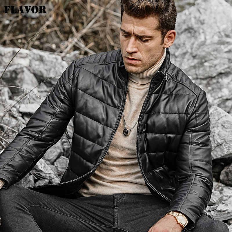 風味メンズラムスキンレザーの本革ダウンジャケット男性立襟ウォームホワイトダックダウンコート