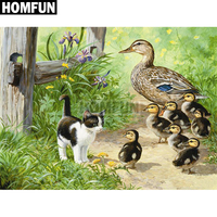 "HOMFUN Full Square/Round Drill 5D DIY Diamond Painting ""Duck & Cat"" Embroidery Cross Stitch 5D Home Decor Gift A02187"