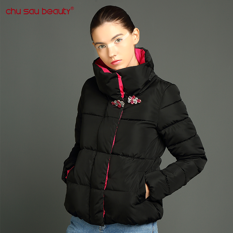 ChuSaubeauty Parkas 2017 Women Slim female Hit color winter jacket women Design Crystal buckle coat women