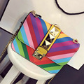 The new  spot rainbow chain bag fashion female bag  rivets bag