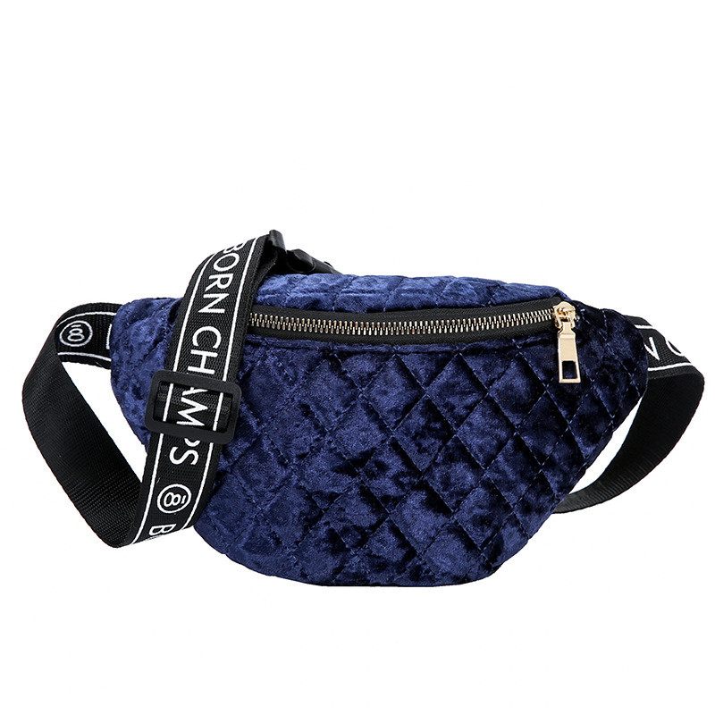 Solid Color Elegant Velour Women Waist bags Fashion Belt Waist Bag Pouch Zipper chest Pack Nylon Multi color Ladies fanny pack in Waist Packs from Luggage Bags