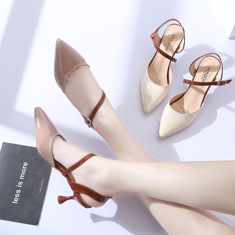 2019 summer new pointed fashion sandals female Korean version of the wine glass with high-heeled buckle ladies sandals(China)